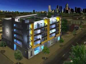 Rendering of Factory Flats. Image courtesy GreenSpot Real Estate.
