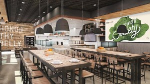 Rendering of the interior of Honor Society Handcrafted Eatery. Courtesy Rowland Broughton.