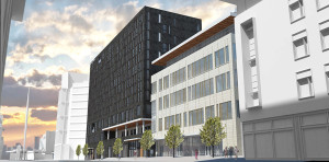 Rendering of A Block mixed-use development courtesy HFF.
