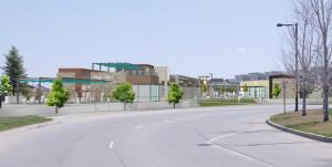 Rendering of the Eastbridge  Town Center at Stapleton. Courtesy Evergreen Development