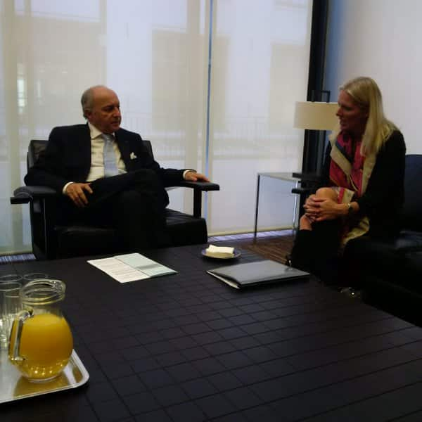 Minister @cathmckenna meeting w France's Minister Fabius at pre- COP21