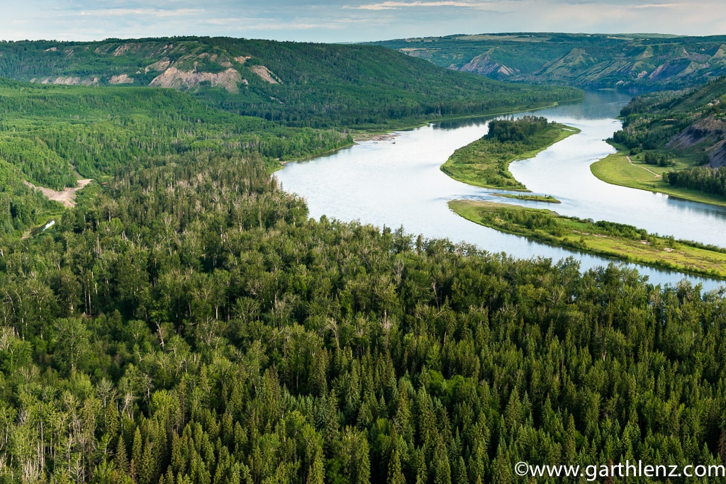 """The same area of the Peace River Valley pictured above, before """"road construction"""" to Site C began last Summer - Garth Lenz photo"""