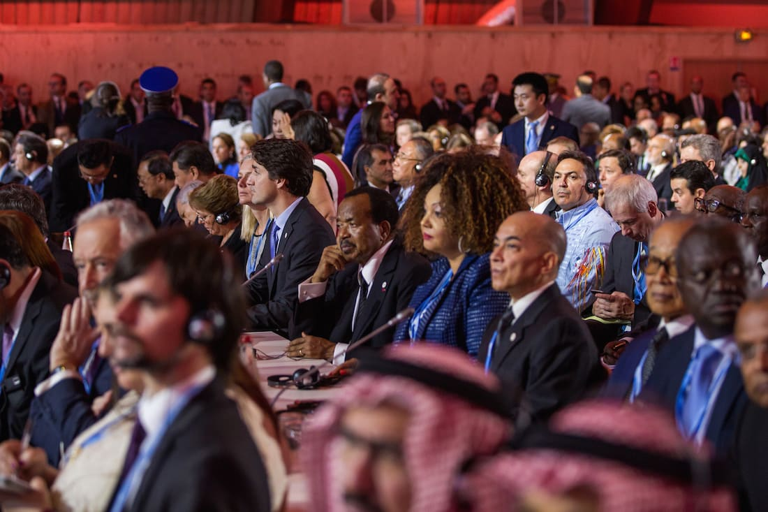 Prime Minister Trudeau and Minister McKenna take part in a plenary session at COP21 in Paris. November 30, 2015 - Courtesy © Justin Trudeau.