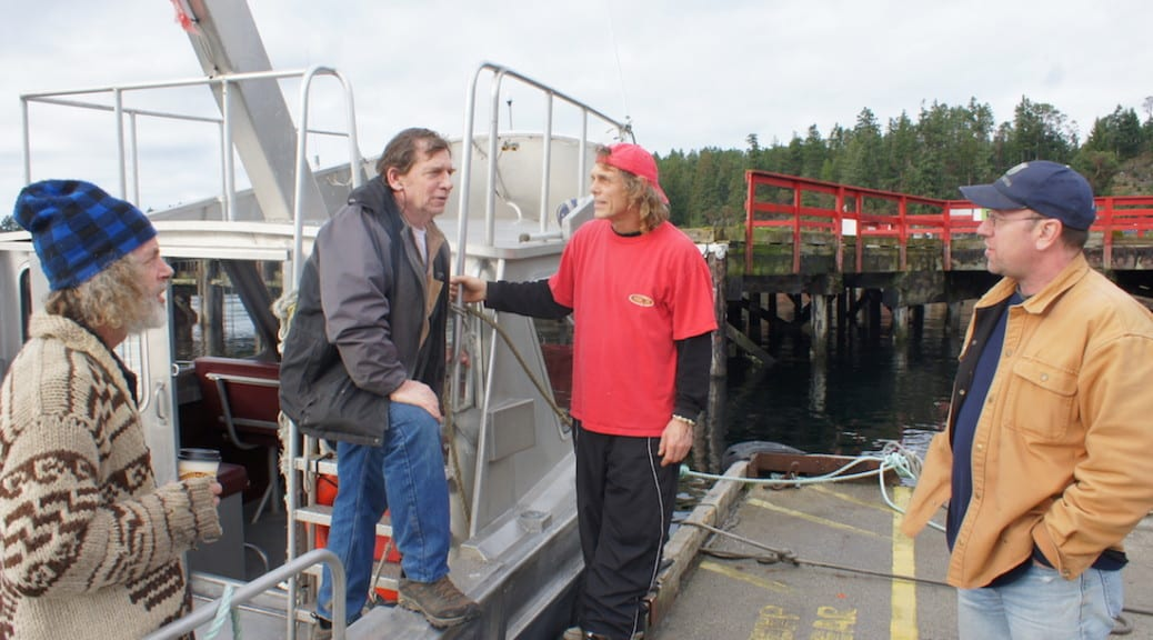 (l to r) Sean, Howie, Joe (water taxi driver) and , Don Mitchinson from Powell River Community Radio (CJMP)