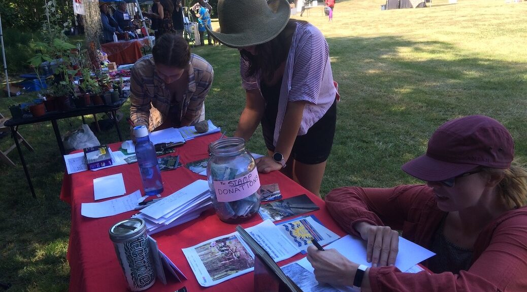 Three girls writing letters to Premier Horgan