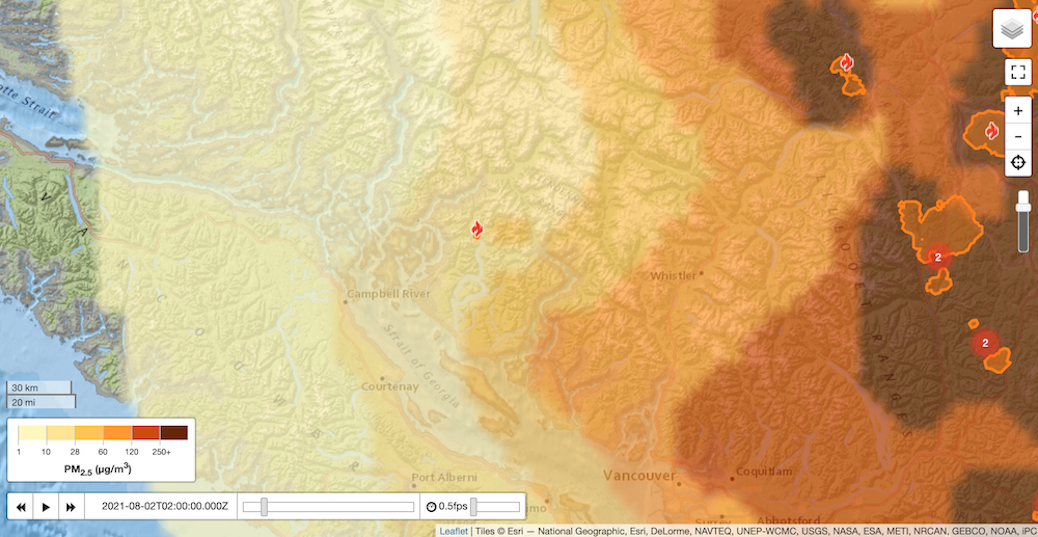 Wildfire smoke forecast for August 2, 2021
