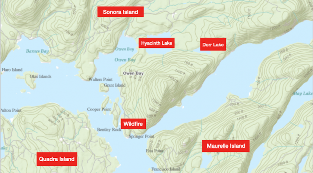 Map showing the location of the Sonora Island fire in relationship to Quadra and Maurelle Islands
