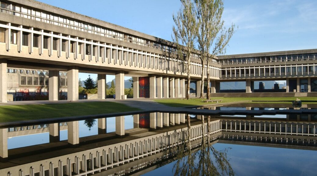 Pool and raised buildings at Simon Fraser University