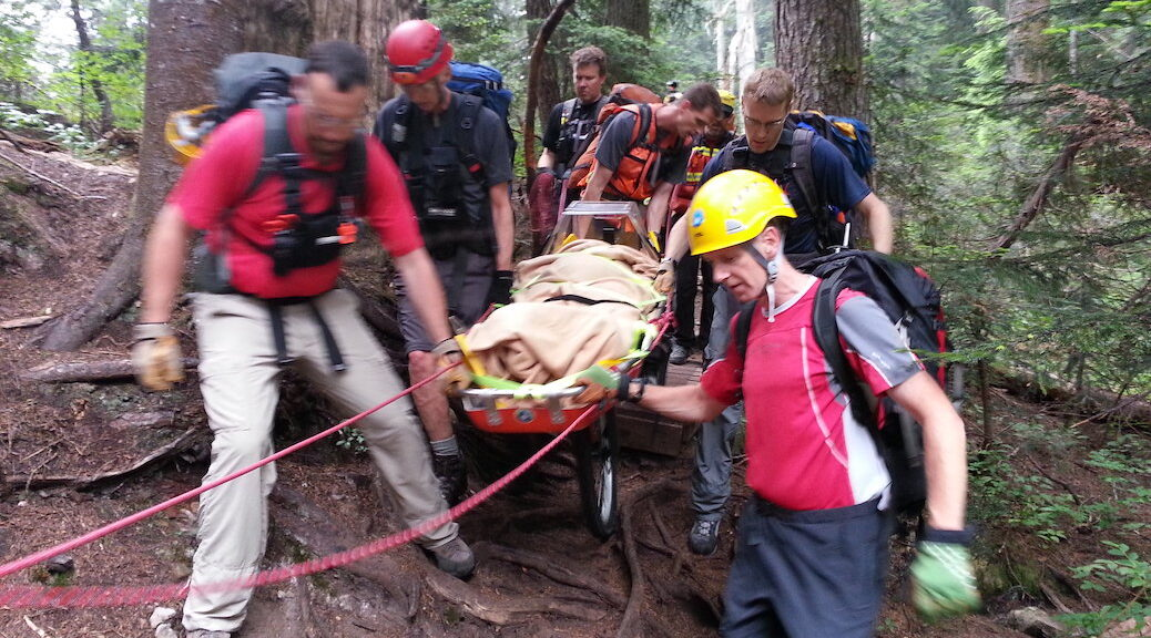 Six men carry a stretcher out from the woods