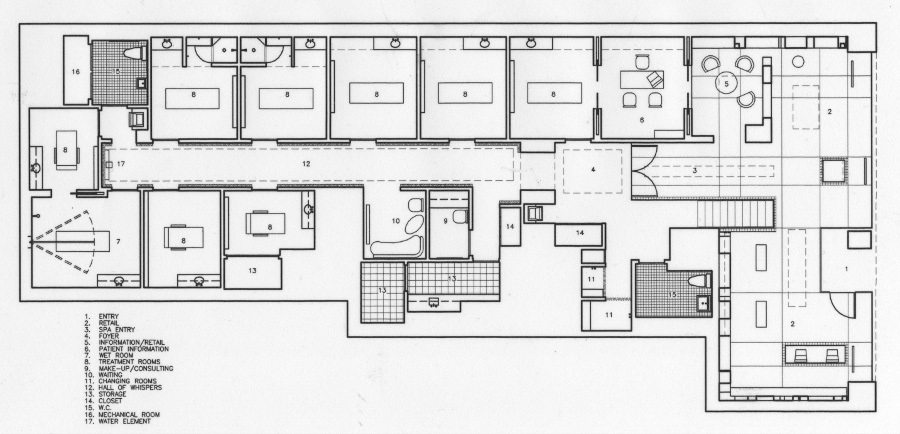 floor plan for a spa