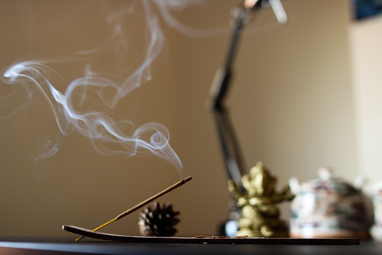 incense in a spa setting