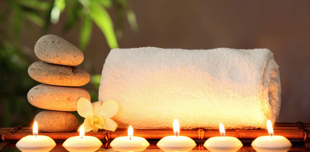 spa candles and setting