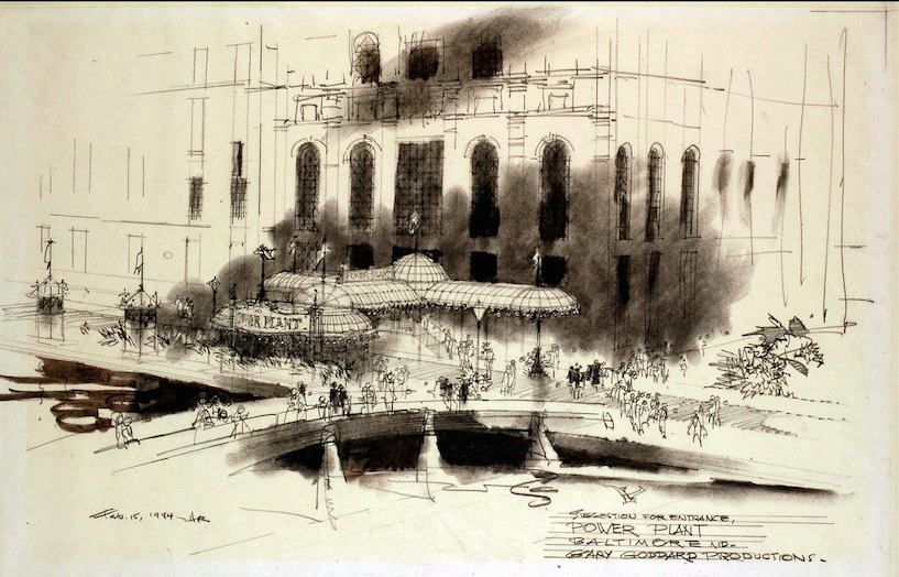 Herb Ryman study sketch for the proposed Porte Cochere and Entry to The Power Plant Copyright Landmark Entertainment Group All Rights Reserved