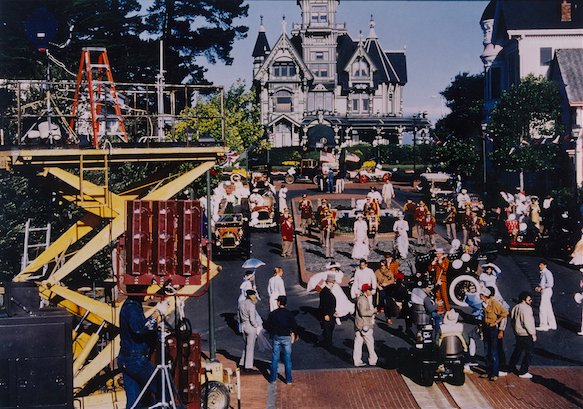 THE SENSORUM – setting up the Grand Finale sequence in Eureka, California which included a parade with antique automobiles, a cast of hundreds, a marching brass band – and all in full period costume.  Very ambitious but it provided a spectacular finale to the show. Copyright The Goddard Group