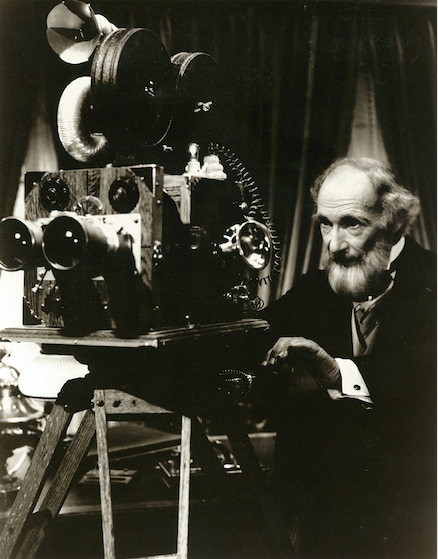 Phineas T. Flagg with his unique SENSORIUM camera that was designed to record the sights, sounds, feelings, and scents of whatever it was pointed at. Copyright The Goddard Group  All Rights Reserved