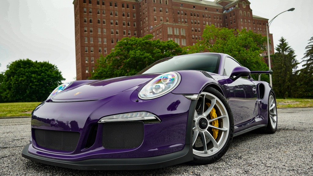 Porsche-GT3RS-Purple-Exterior-Front-Side-Profile-Long-Island-Exotic-Cars-For-Rent-