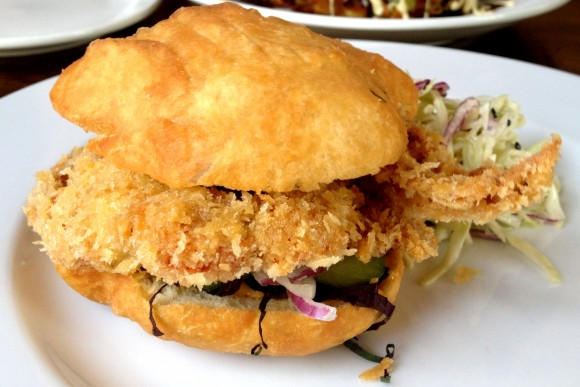 panko-fried soft shell crab sandwich