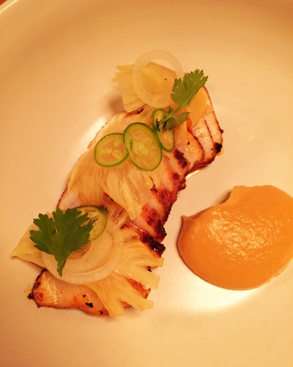 cobia al pastor with pineapple sauce and cilantro