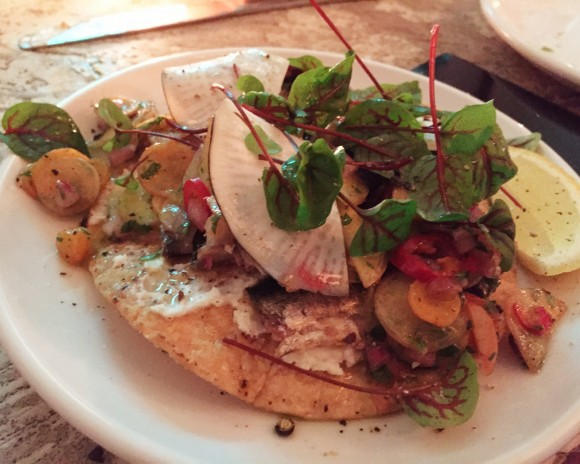sardines with carrot top dressing, piquillo peppers, radishes, butter and tostadas