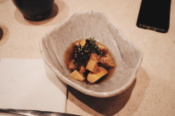 course 1 - roasted japanese vegetables chilled in a sweet soy dashi