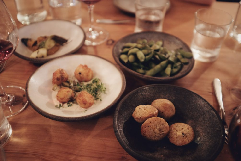 a few things for the table - edamame, pecorino and thyme biscuits, pork and potato croquettes and roasted zucchini