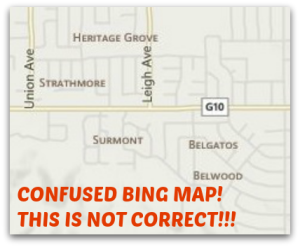 Bing map of east Los Gatos neighborhoods is largely wrong