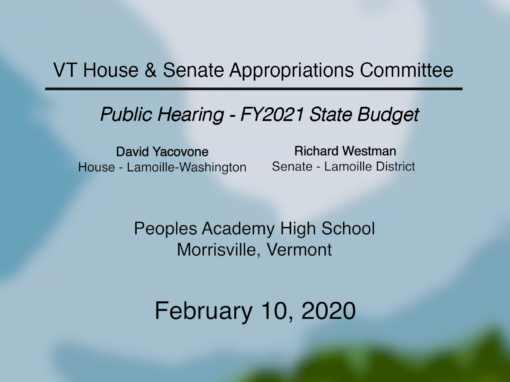 Community-Based Public Hearings on the Governor's Recommended FY 2021 State Budget