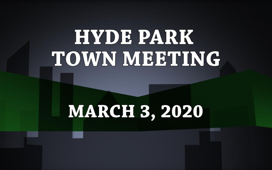 Hyde Park Town Meeting, 2020