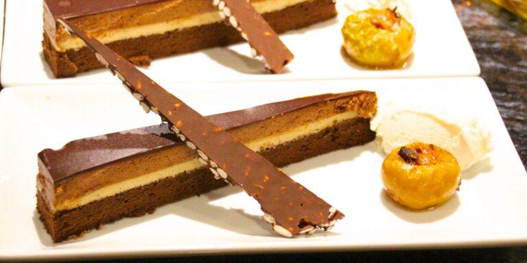 Praline Chocolate Cake with Bourbon Ice Cream, Rice Crispy Bark and Roasted Apples