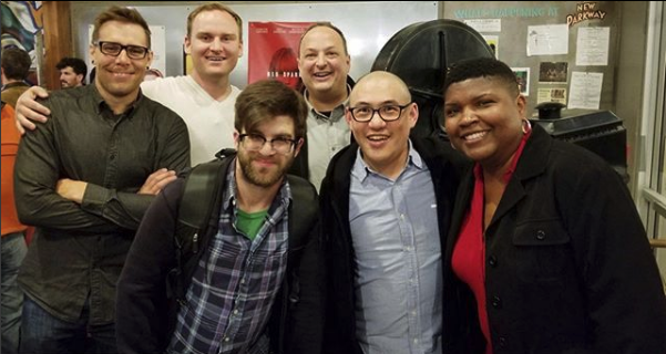 Back Row: Producer Ben Sinclair, director Tylor Norwood, host Paco Romane. Front Row: Sup Doc producer Will Scoville, host George Chen and guest/comedian Karinda Dobbins.