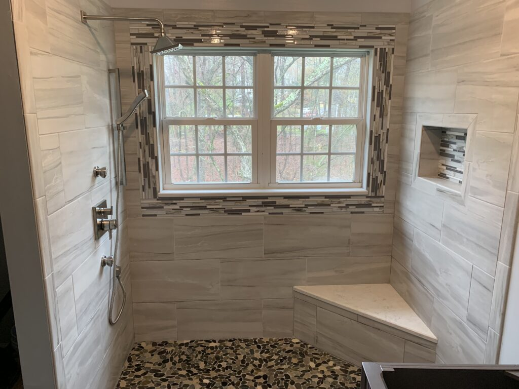 Plumbing in a custom tile shower