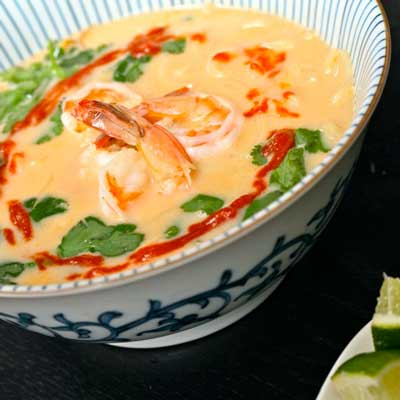 Thai coconut shrimp ramen soup