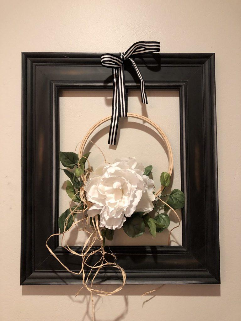 Beautiful modern farmhouse fall flower wreath with raffia