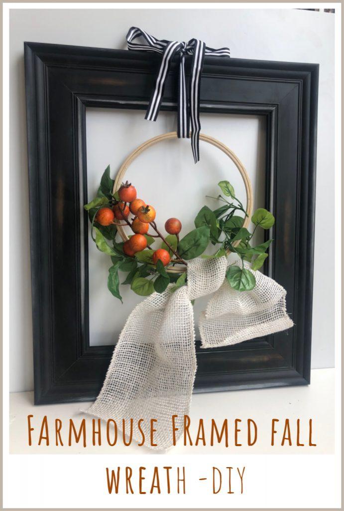 Modern farmhouse embroidery hoop fall wreath with simple burlap bow