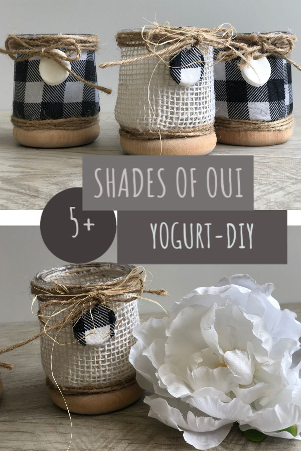 Thrifty  rustic way to decorate with Oui yogurt jars in any room in your house. Farmhouse kitchen