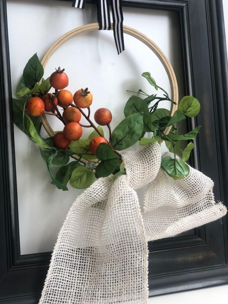 Burlap simple bow. Farmhouse embroidery hoop fall wreath