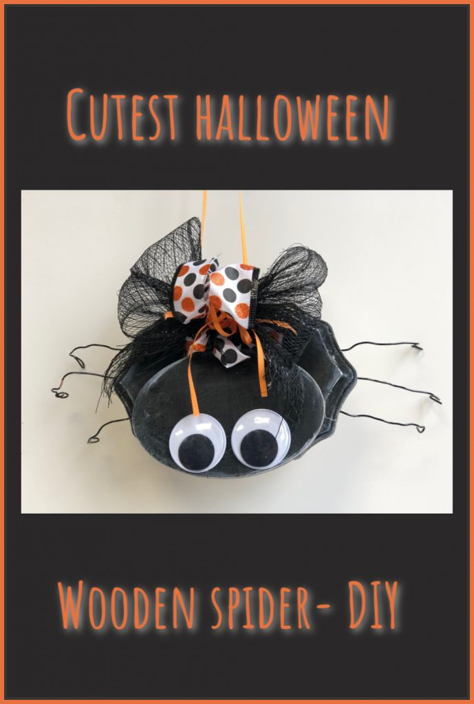 Cutest wooden spider on the Halloween Block!! Learn how to make this easy fall decor with my daughter. #halloweendiy #halloweendecor #halloween #spiderdiy