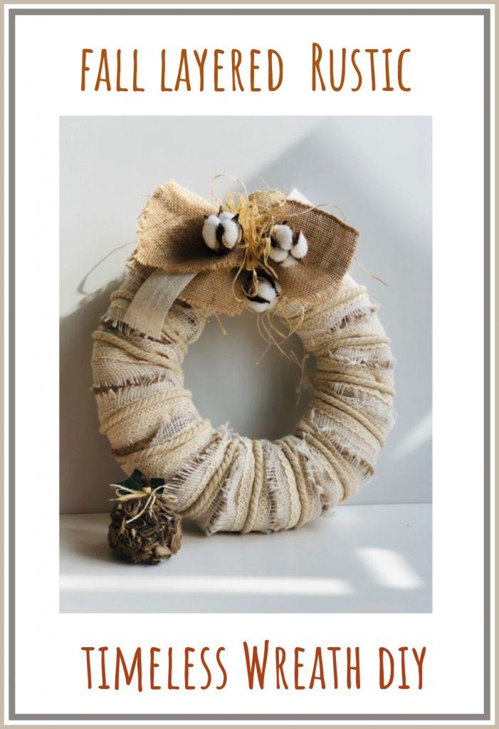 Beautiful fall layered rustic wreath with simple burlap, raffia and ribbon bow.