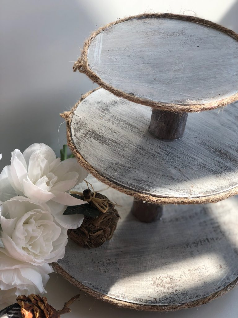 Rustic Farmhouse 3 Tiered Tray.Step by step instructions #farmhouse #diyprojects #homedecoronthebudget #rustic #tieredtraydiy