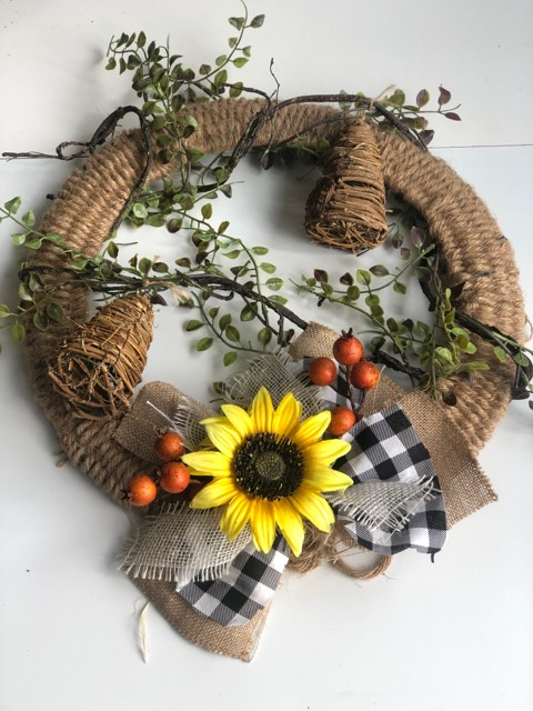 Woven  rope wreath, Sunflower . beehives and a simple rustic buffalo check and burlap bow