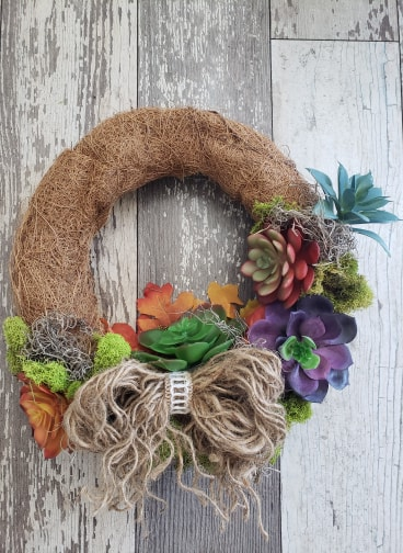 Succulent fall wreath with rustic bow.   How to make a rustic bow