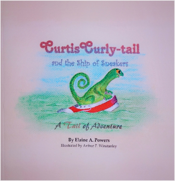 a pink book cover with an illustration of a green curly-tail iguana riding in the ocean in a red sneaker
