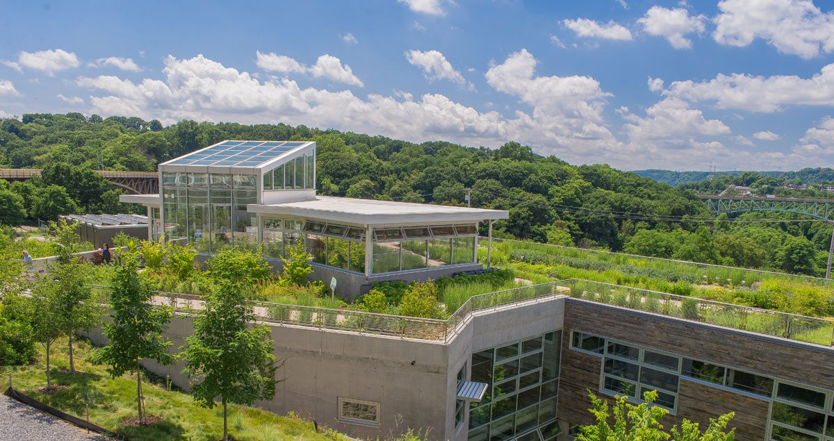 Designed to be the greenest building in the world, the Center for Sustainable Landscapes (CSL) at Phipps Conservatory and Botanical Gardens generates all of its own energy and treats all storm and sanitary water captured on-site. It is the first and only building to meet four of the highest green certifications: Living Building Challenge, the world's most rigorous green building standard; LEED® Platinum — tied for the highest points awarded under version 2.2; first and only Four Stars Sustainable SITES Initiative™ (SITES™) for landscapes project (pilot); and first WELL Building Platinum project (pilot). Primary biophilic design patterns of the CSL include abundant daylight, views to nature, operable windows, and a natural, regional material palette. One of the additional key features include an accessible, native-vegetation rooftop garden. Photo credit: Paul G. Wiegman.