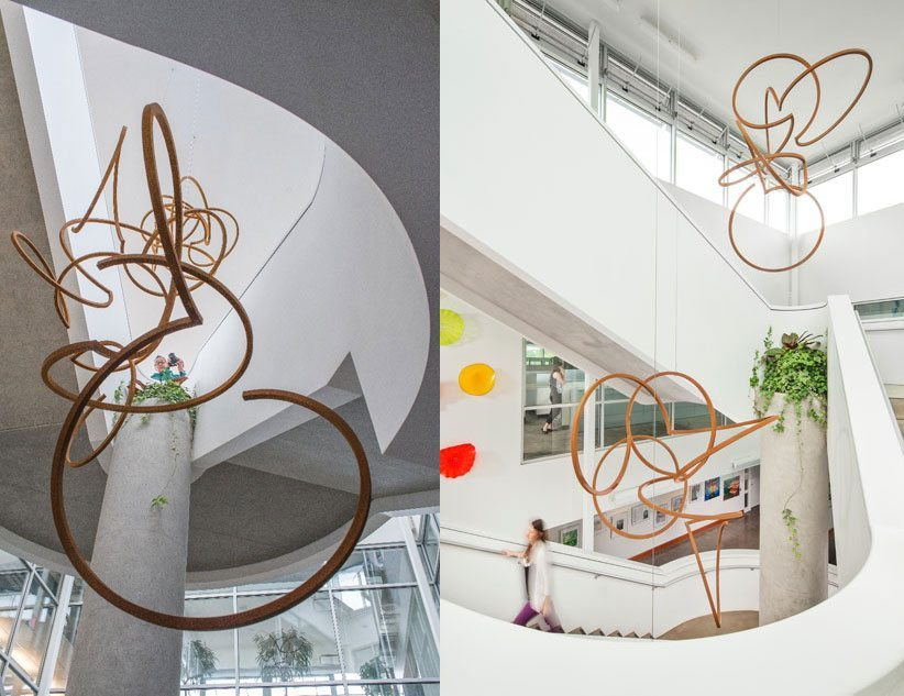 A central focus point in the BETA Project is the ceiling mounted, organic steel sculptural that link the three floors of the CSL. The piece, by Dee Briggs, is based on the science of chirality, or handedness. These highly ordered, nature-based geometric forms are very common characteristics in many areas of chemistry and biology. This experiential three-dimensional piece, custom created for the CSL, embodies multiple Biophilic design elements of Natural patterns and process, and provides for a powerful and energizing sensory experience of shape and form. Photo credit: Denmarsh Photography, Inc.