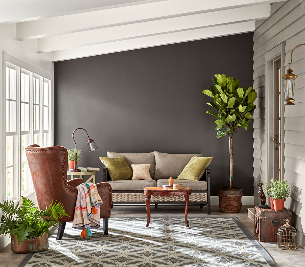 """""""Cool, dark and strong, this deep gray-brown is nearly black but radiates warmth when light is generous."""" - Sue Kim, Valspar Sr. Color Designer"""