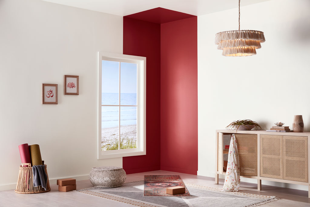 """""""Softened with the slightest bit of white, this red retains its strength and power to fire up the senses."""" - Sue Kim, Valspar Sr. Color Designer"""