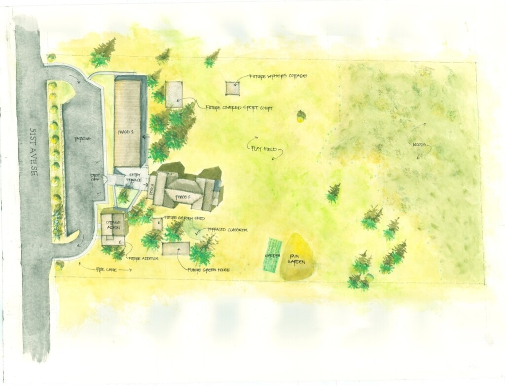 color sketch of capital campaign site plan