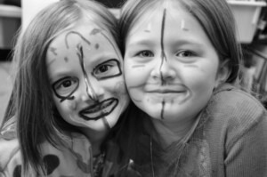 two girls with facepaint