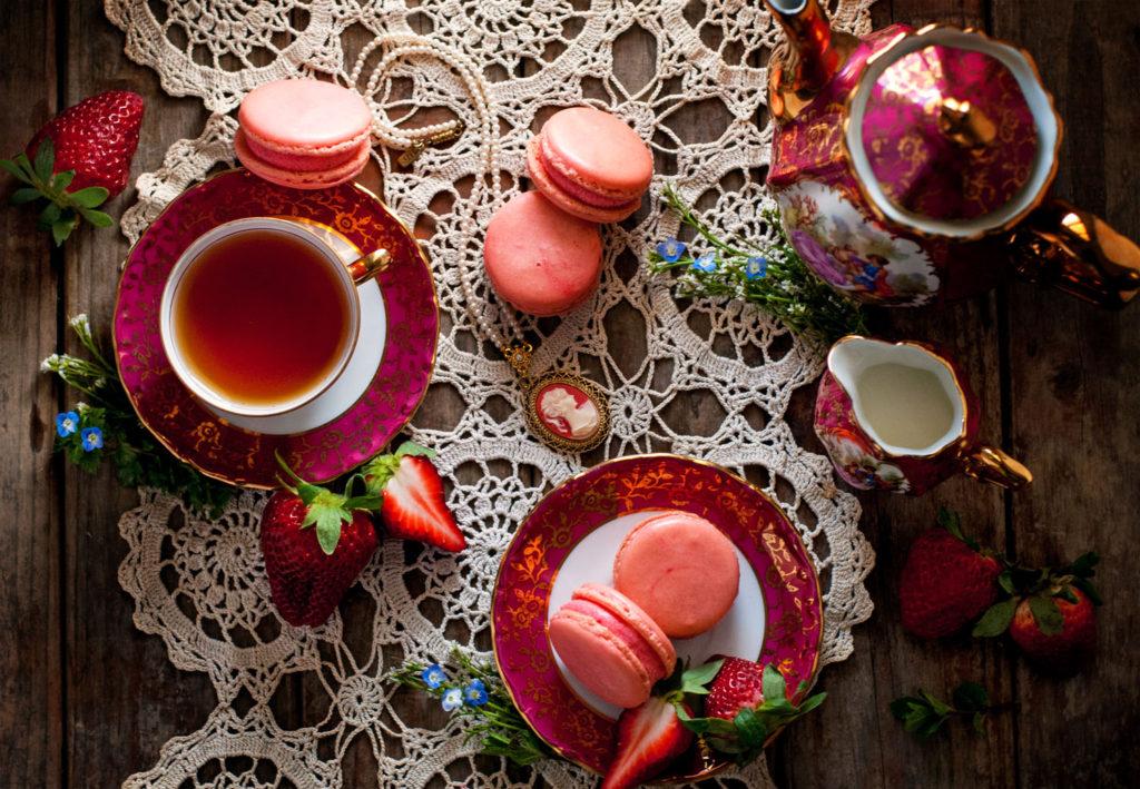 Strawberries and Cream French Macarons
