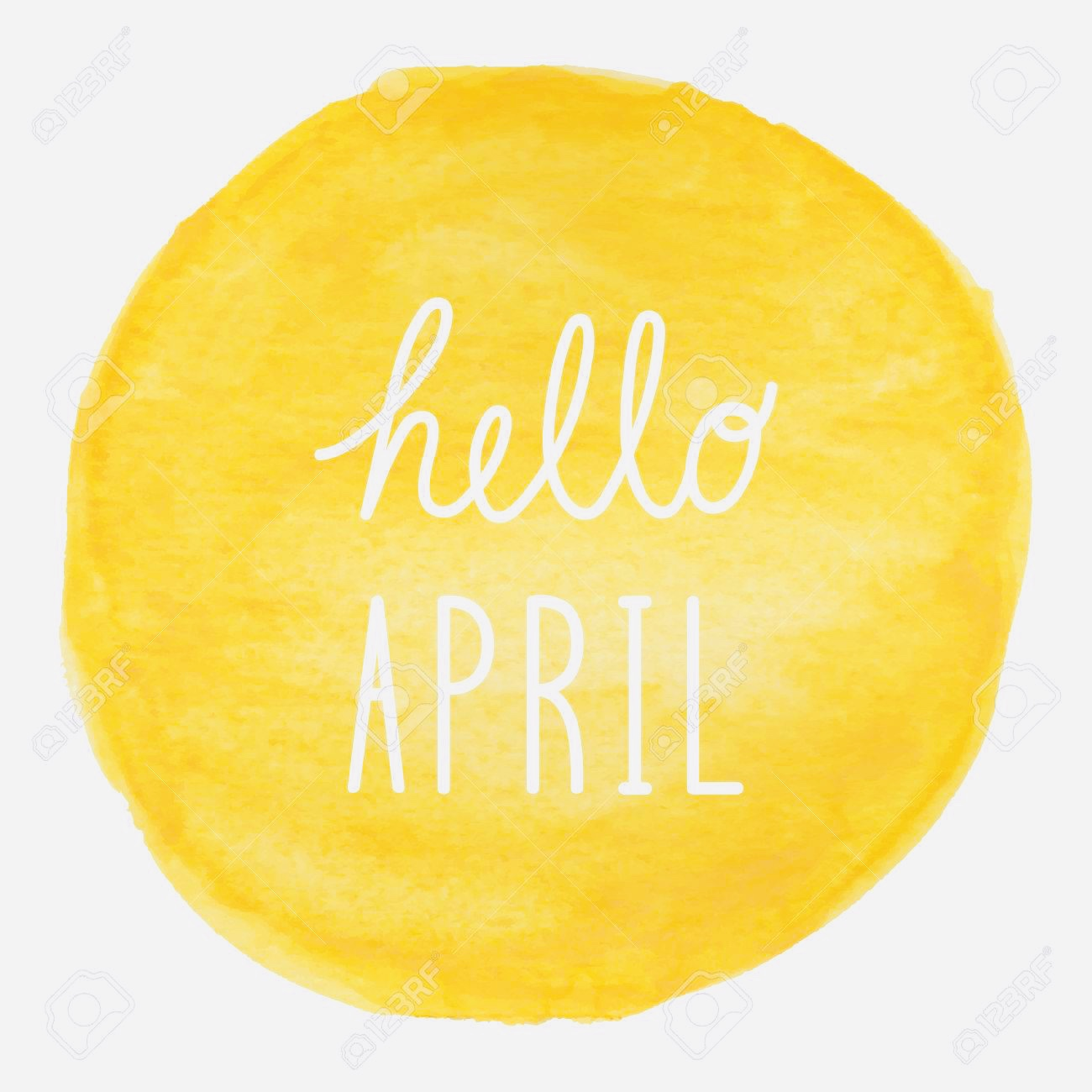 Hello April greeting on yellow watercolor background